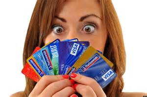 Lady with a lot of credit cards